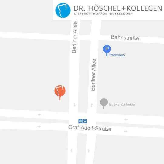 Link zu Google Maps: Düsseldorf, Berliner Allee 61, Dr. Höschel & Kollegen